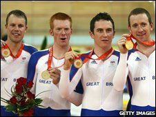 Paul Manning, Ed Clancy, Geraint Thomas and Bradley Wiggins