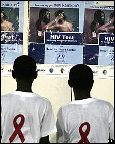 File photo of posters advertising HIV tests in Nigeria