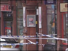 Police tape outside Q club, Birmingham