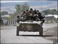 Российские войска в окрестностях Гори, 18 августа 2008 г.