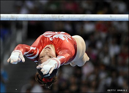 Britain's Beth Tweddle competes on the uneven bars