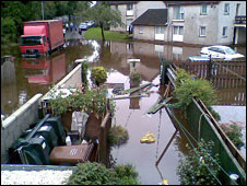 A flooded back garden. Photo: Leslie O'Hagan