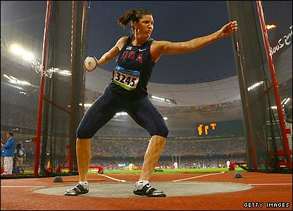 Stephanie Brown-Trafton of the US wins gold in the women's discus