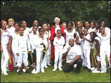 Children from Urban Touch with the mayor of Islington Stefan Kasprzyk