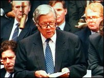Sir Geoffrey Howe giving his resignation speech to the House of Commons in London