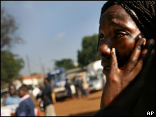 A woman attending a funeral In Kenya during recent unrest in the country