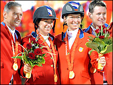 American celebrate team show jumping gold
