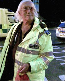 Jimmy Savile at the accident scene