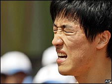 Liu Xiang pictured shortly before he pulled out of the Olympics on Monday