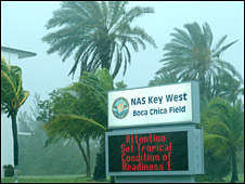 Sign warns of Fay's imminent arrival on Key West on 18 August