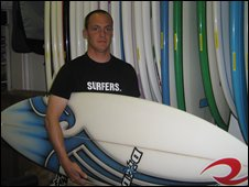 Michael Walcroft, manager of the Sorted Surf Shop