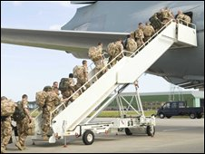 Troops boarding aircraft at RAF Lossiemouth