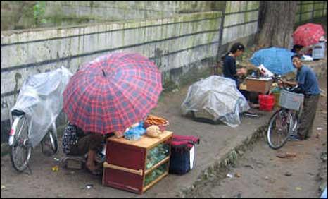 Street vendors in North Korea