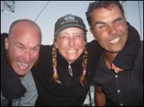 Joel Paschal, Roz Savage and Marcus Eriksen aboard the Junk raft in the Pacific