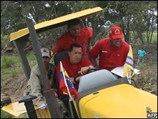Chavez in tractor