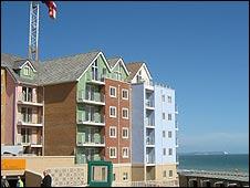 New houses overlooking Boscombe beach
