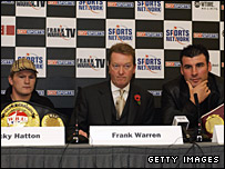 (left to right) Ricky Hatton, Frank Warren, Joe Calzaghe