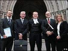 Officials from the Prospect union and its lawyers outside the High Court