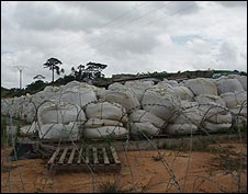 Contaminated earth collected into giant bags