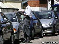 A traffic warden in central London