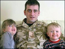 Corporal Barry Dempsey with his children - daughter, Andie and son, Charlie 