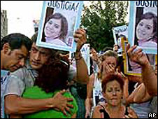 Relatives demonstrating in a file photo from 2005