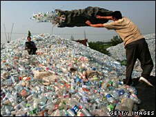Plastic waste dump