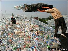 Plastic waste dump
