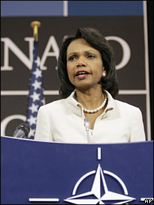 US Secretary of State Condoleezza Rice speaks at Nato headquarters in Brussels on 19 August 2008