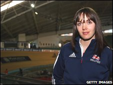 Olympic champion Victoria Pendleton at the Manchester Velodrome