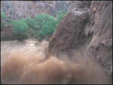 Fast flowing waterfall