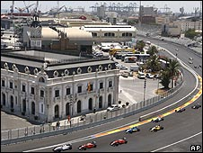 Formula Three cars race on the new Valencia street circuit, which hosts its inaugural Grand Prix this weekend