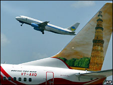 Airplanes taking off in India