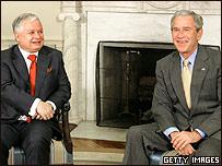 Presidente de Polonia, Lech Kaczynsky y George W. Bush
