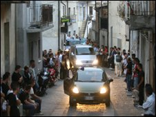 Funeral cortege of two men shot dead in a 'Ndrangheta blood feud in the Calabrian town of San Luca