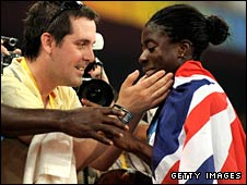 Christine Ohuruogu is congratulated by friends in the crowd