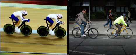 Team GB sprinters and two ordinary cyclists