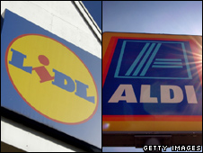 Aldi and Lidl signs