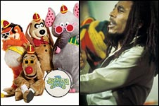 Banana Splits, left, Bob Marley, right
