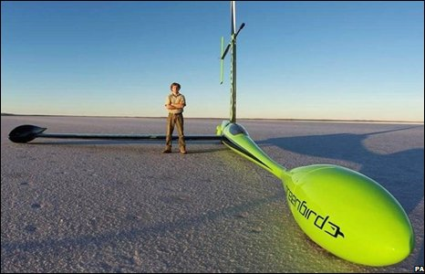 the grrenbird wind-powered vehicle on Australia's Lake Lefroy salt flats
