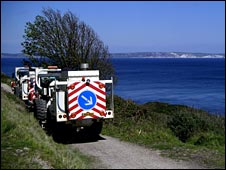 Seismic survey trucks, Dorset coast