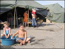Children at the Dila camp for displaced people, near Tbilisi