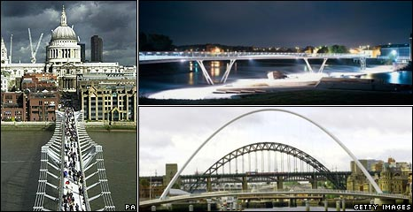 Millennium Bridge, London; Castleford footbridge; and Gateshead Millennium Bridge