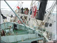 A ship, the Robert Hunter, bottom, collides with the Japanese ship Kaiko Maru in the water of Antarctic, in this file photo dated 12 February 2007 released by the Sea Shepherd Conservation Society
