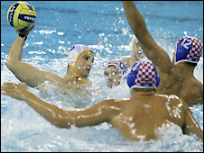 Action from Montenegro's water polo quarter-final victory over Croatia