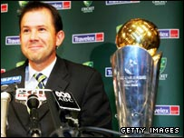 Australian captain Ricky Ponting with the ICC Champions Trophy
