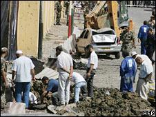 Scene of car bombing in Bouira, 20 August 2008