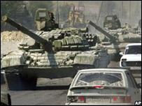 Tanques rusos en Osetia del Sur