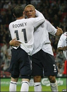 Wayne Rooney and Wes Brown