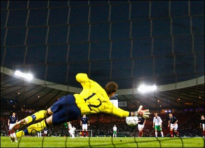 Allan McGregor saves a penalty
